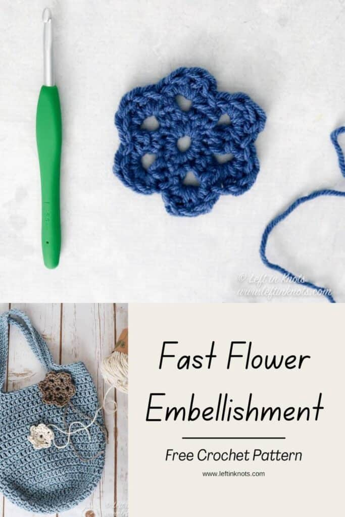 A crochet flower shown alone and on a bag