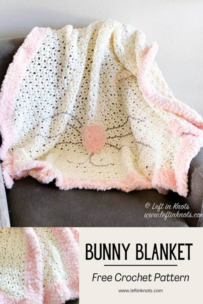 White Bunny Blanket with Nose and Whiskers