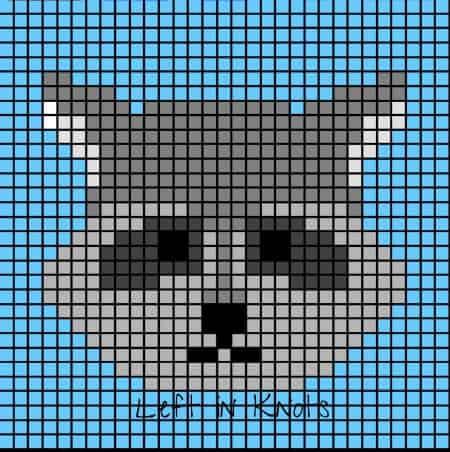 A pixel chart of a raccoon