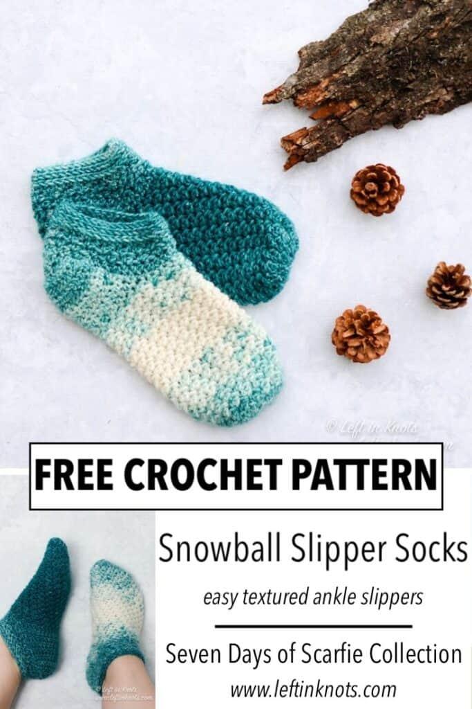 Teal and cream crochet slipper socks using the lemon peel stitch