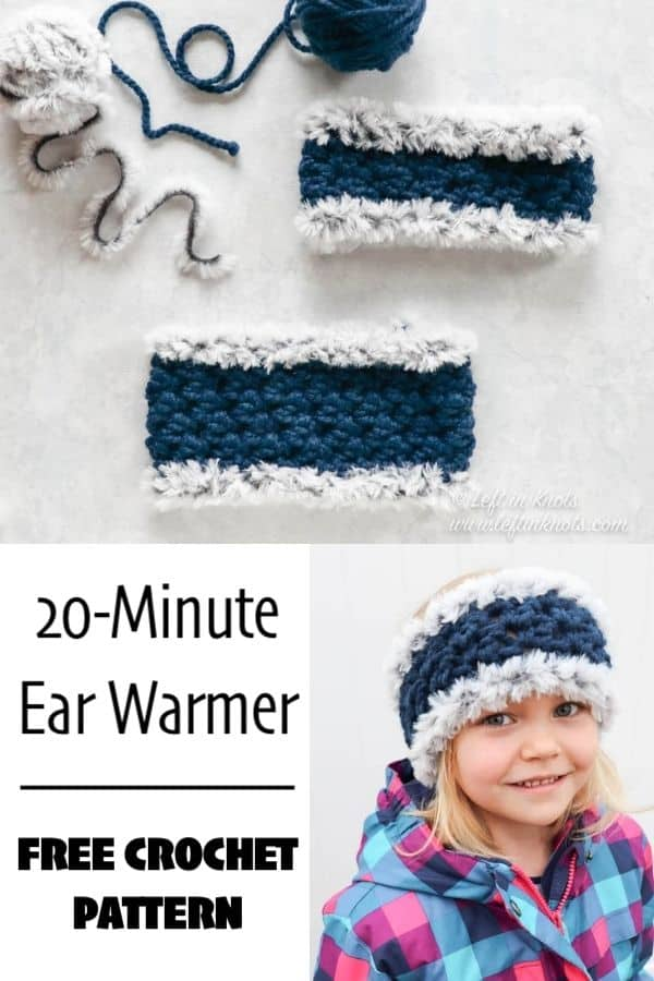 Ear warmers made with chunky yarn and faux fur trim