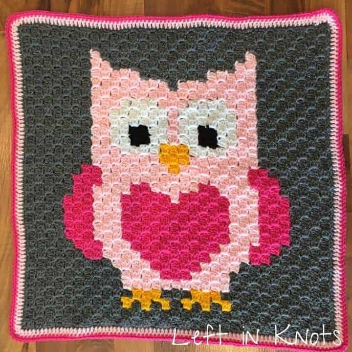 A C2C crochet owl with heart