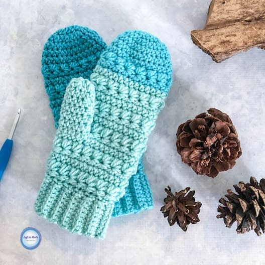 Crochet mittens made with Caron Cakes yarn and the star stitch