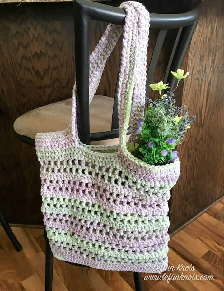 A chunky cotton market bag made with double strands of yarn