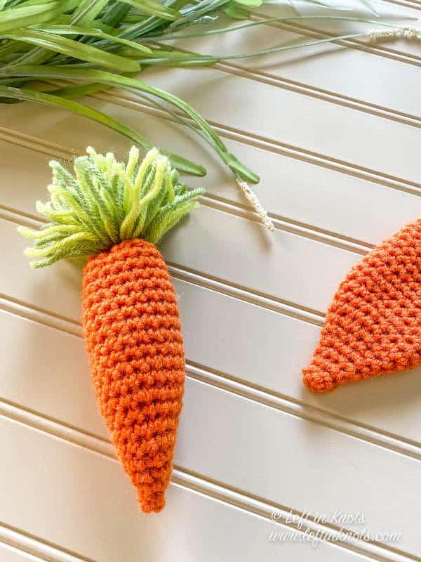 Crochet carrots being made