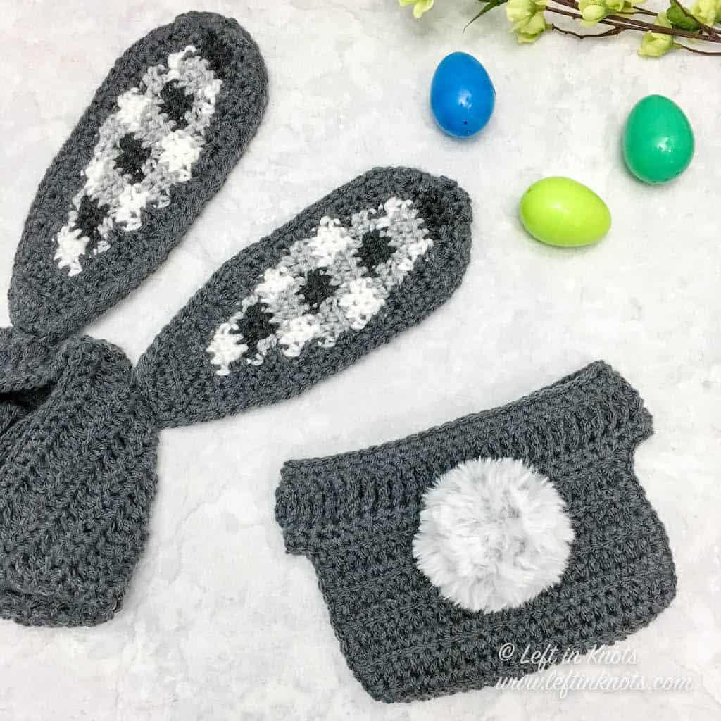 A crochet bunny bonnet with gingham plaid ears