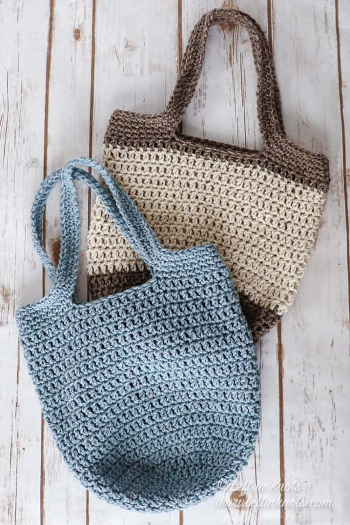 Two small crochet bags in different colors