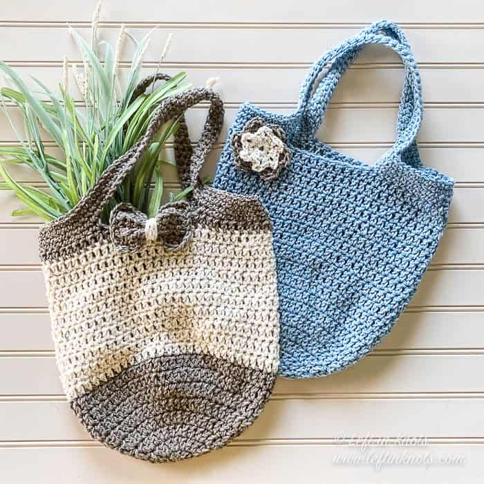 Two small crochet bags made with recycled yarn