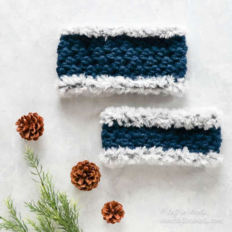 Crochet ear warmers made with blue chunky yarn with faux fur trim