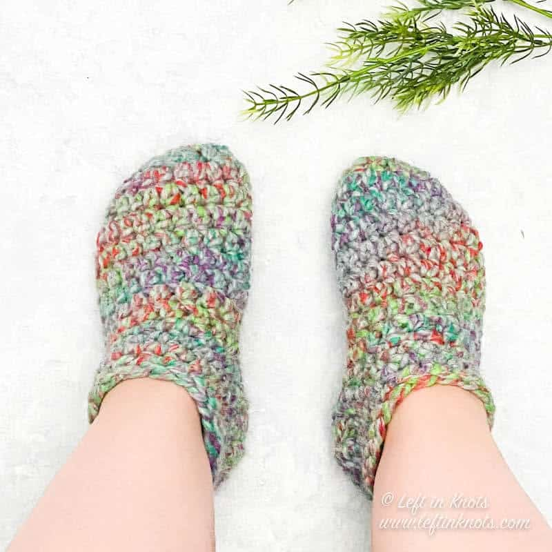 Chunky crochet slipper socks made with Wool Ease Thick and Quick