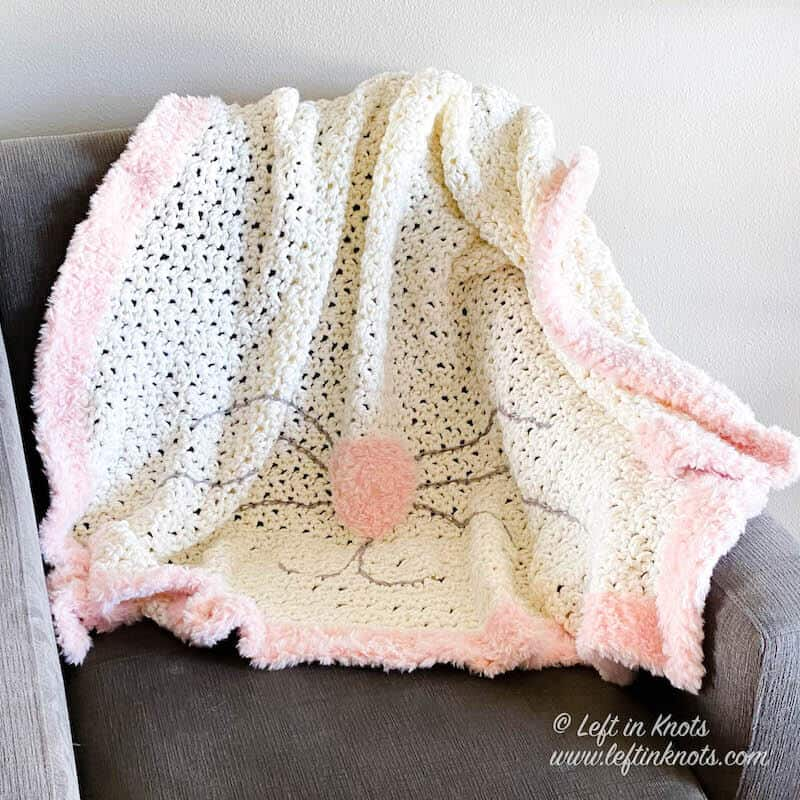 White Bunny Blanket with Faux Fur Nose and Border