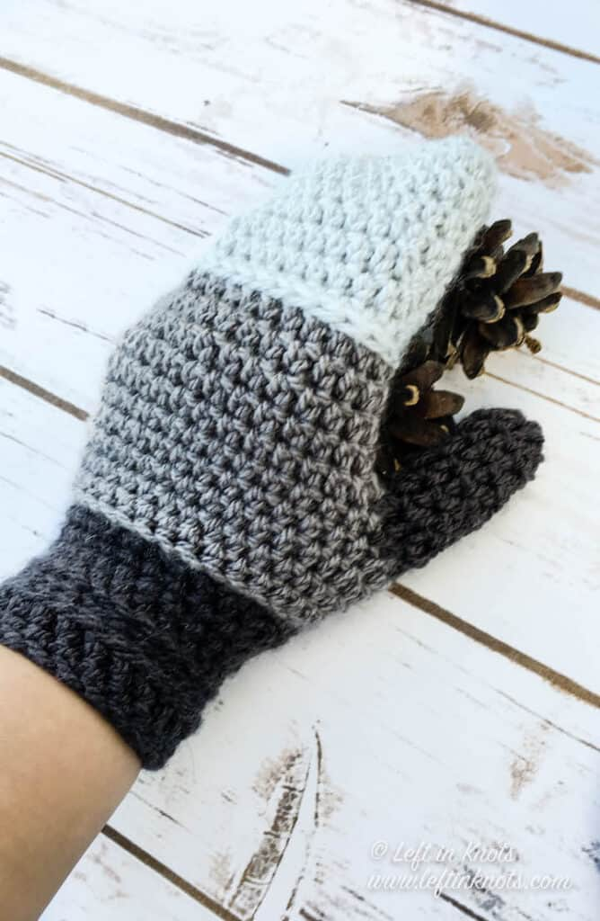 Color block crochet mittens in shades of gray