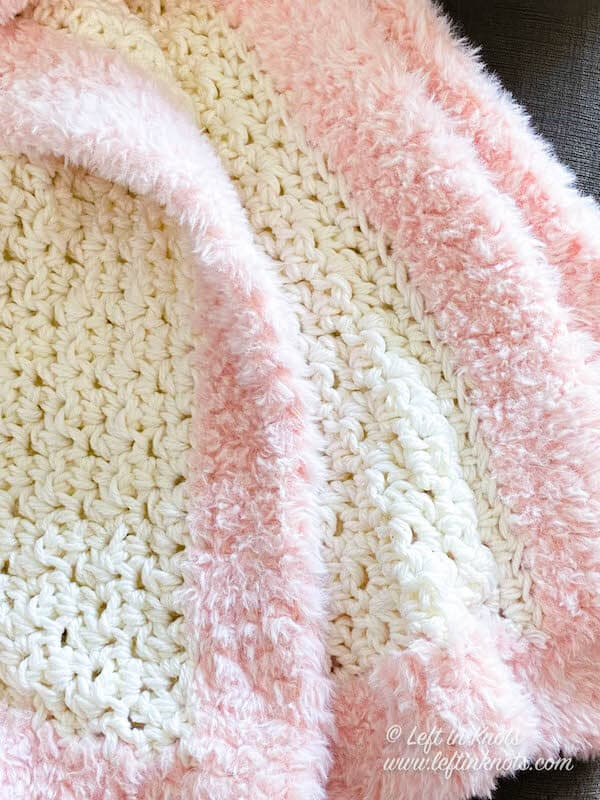 White Blanket with Pink Faux Fur Trim
