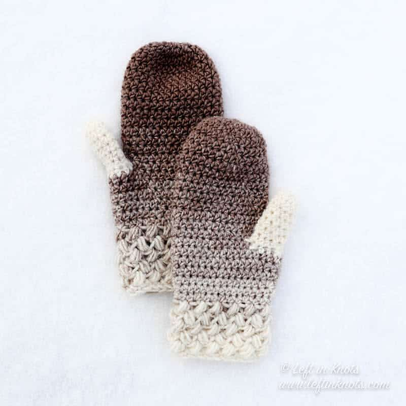 Taupe and cream crochet mittens using the bean stitch