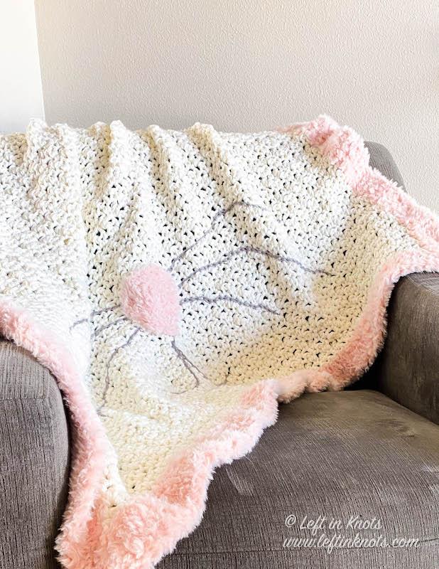 Bunny Blanket with pink fur trim