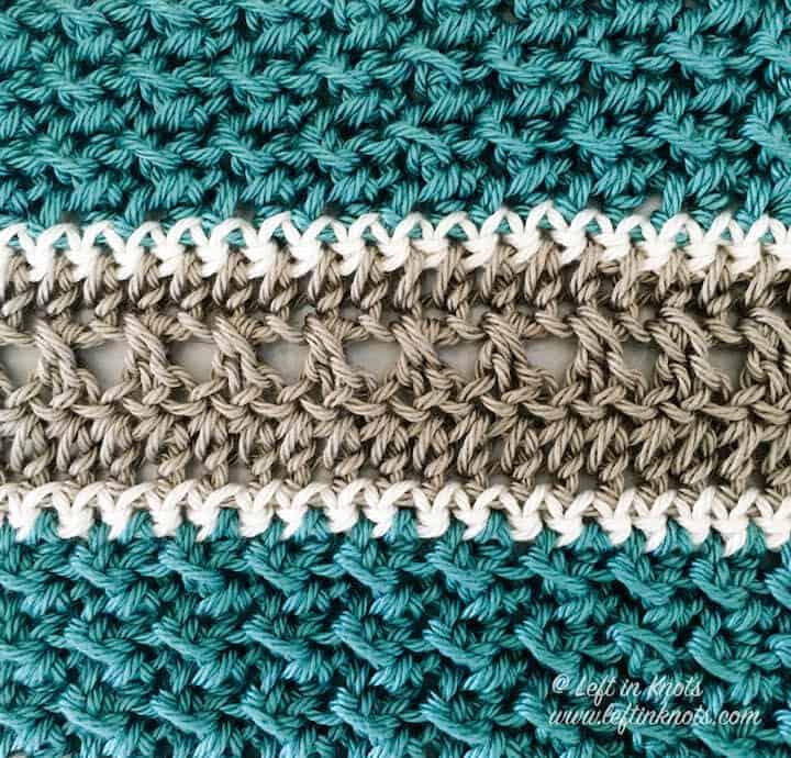 A textured crochet cotton wash cloth