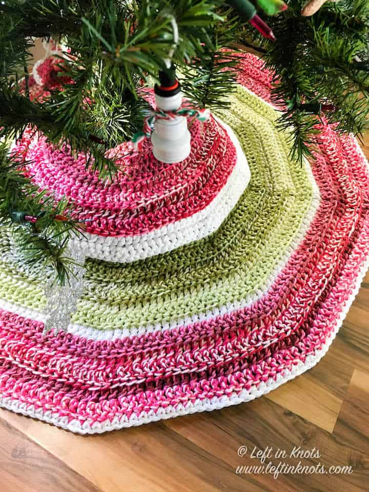 A crochet tree skirt made with double stranded yarn