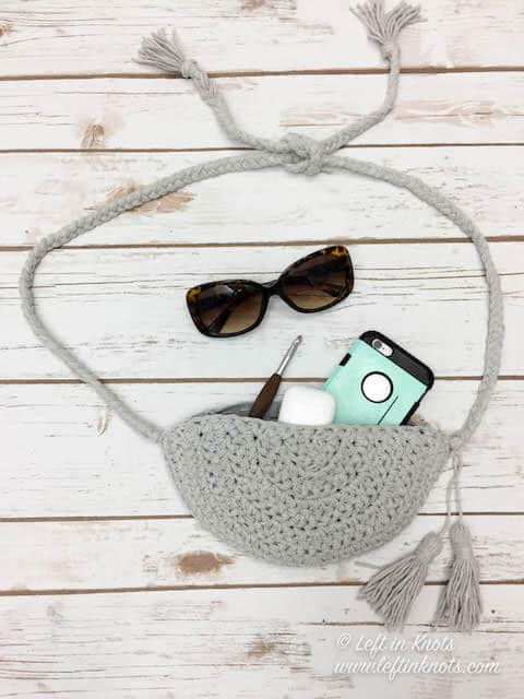 A crochet fanny pack that can also be worn as a crossbody bag