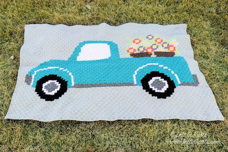 C2C crochet blanket with vintage truck and flowers