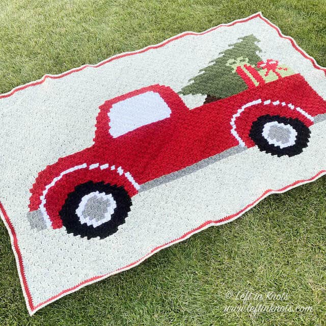 C2C crochet blanket with a Christmas vintage red truck and tree