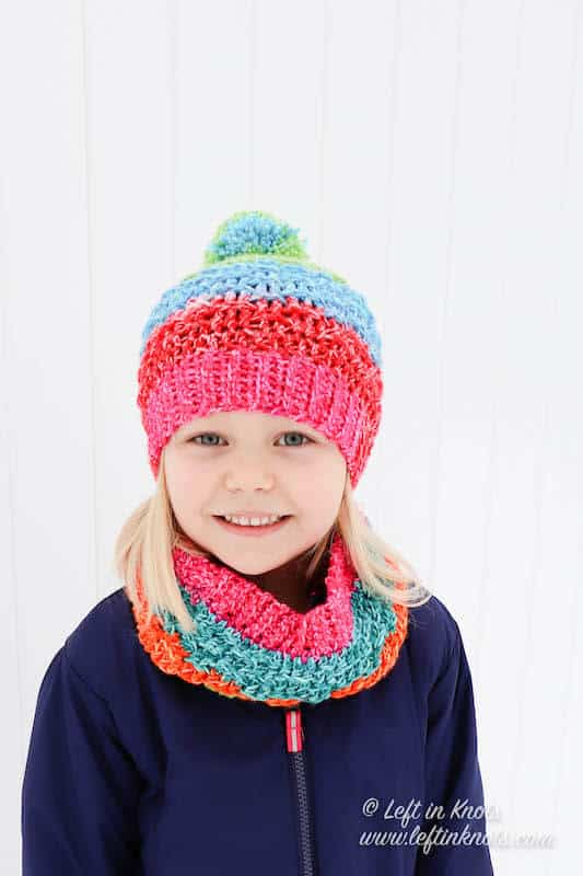 A child sized crochet cowl made with Lion Brand Mandala yarn
