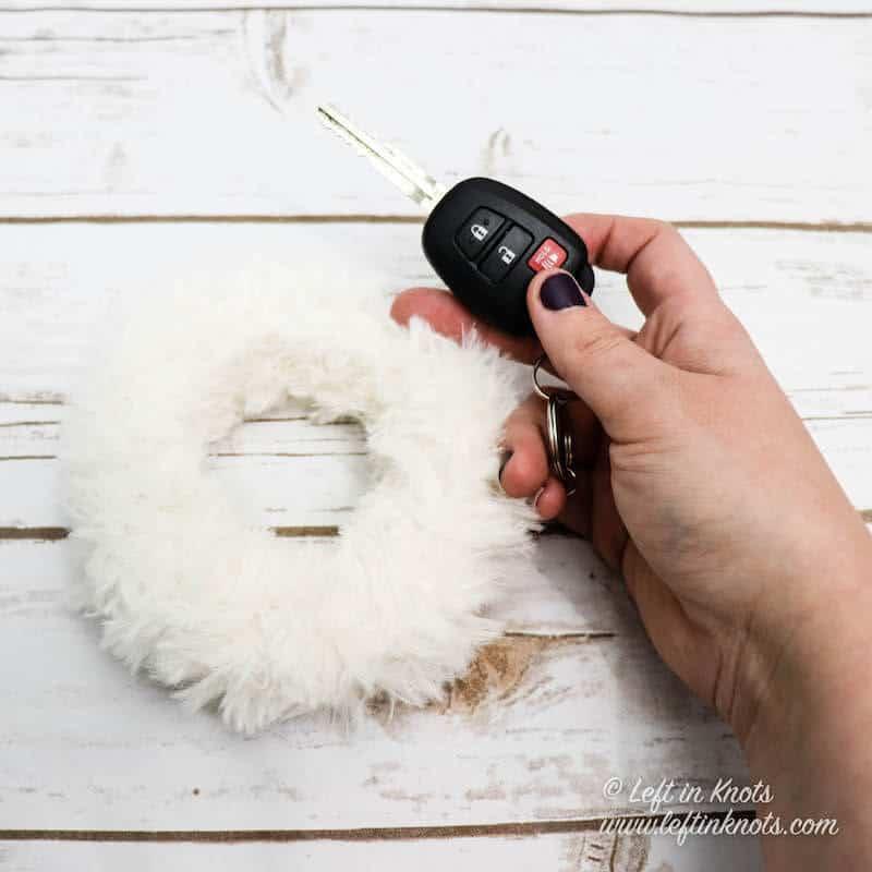 A crochet bangle bracelet keychain