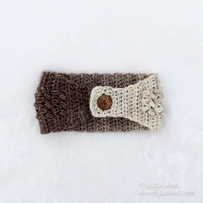 A simple crochet ear warmer made with Lion Brand Scarfie yarn and the bean stitch