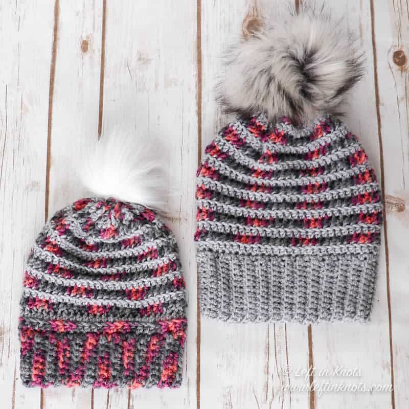 A crochet beanie made with scrap yarn in child and adult sizes
