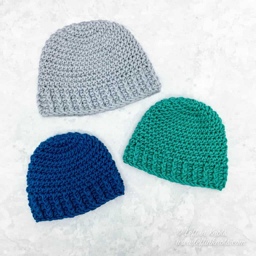 Crochet hats in 5 sizes made with bulky yarn
