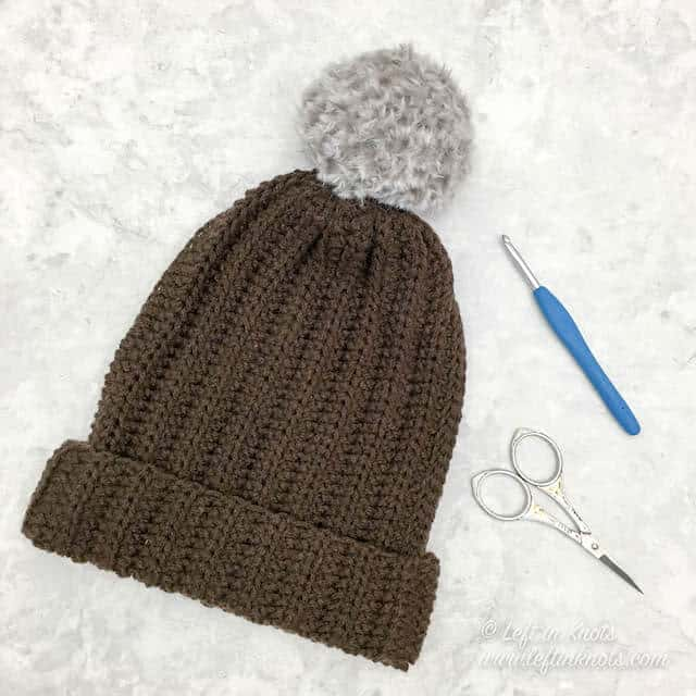 An easy crochet beanie made from a rectangle