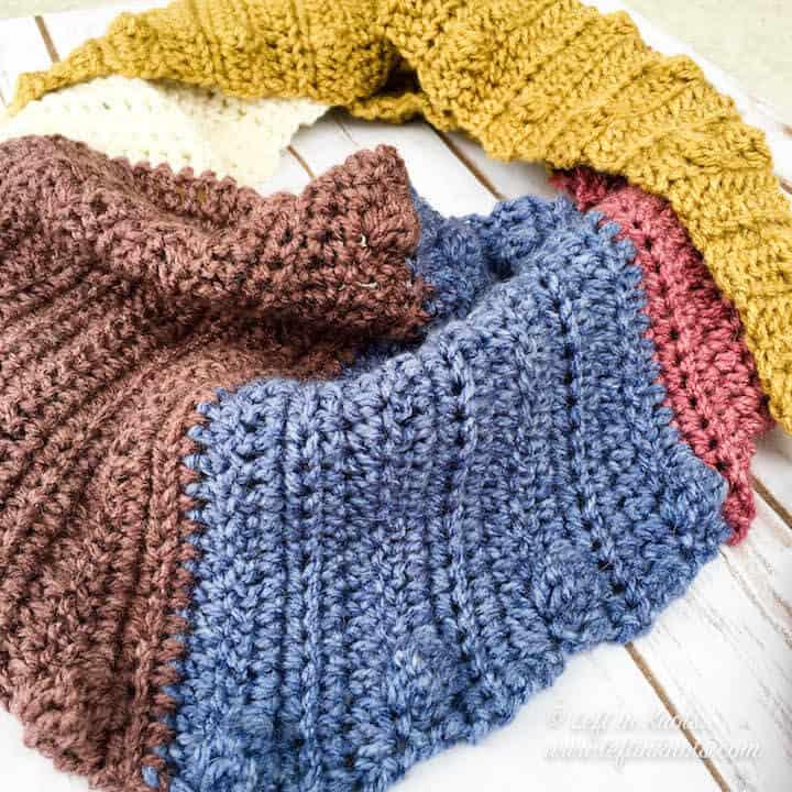 A crochet triangle scarf using the bobble stitch