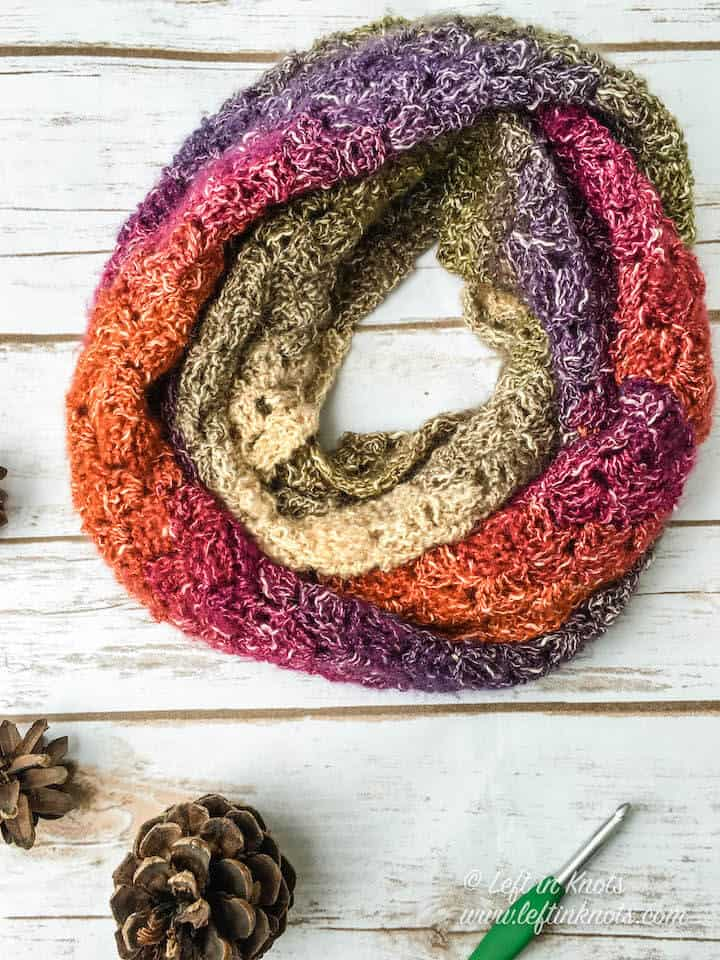 A crochet infinity scarf made with the C2C stitch and one skein of yarn