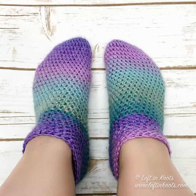 Crochet slipper socks made with Lion Brand Ferris Wheel yarn