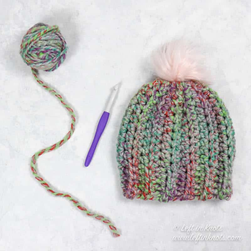 A fast and easy chunky crochet beanie made from a rectangle