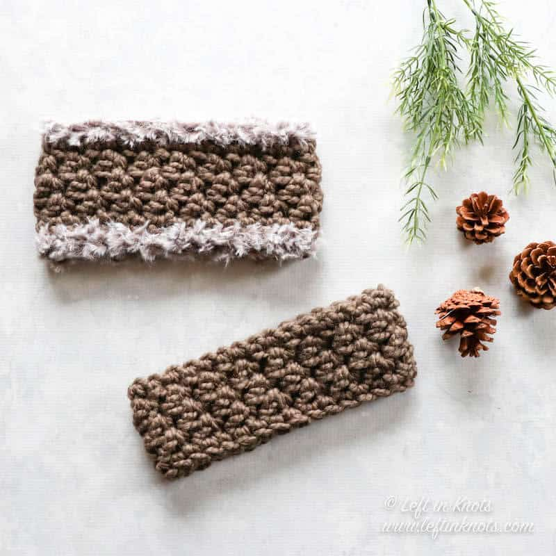 Crochet ear warmers made with chunky yarn in two sizes