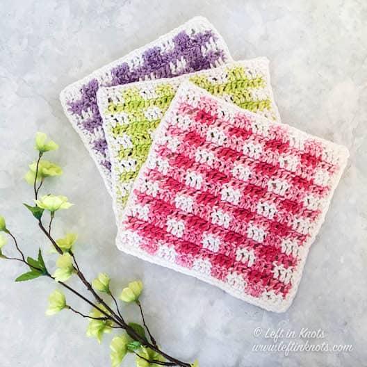 Colorful gingham plaid crochet cotton wash cloths