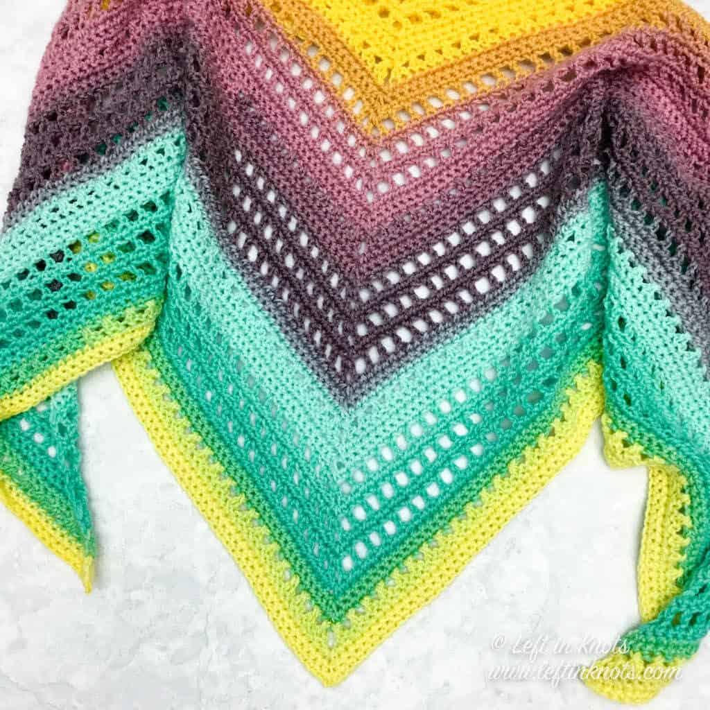An easy crochet shawl made with Lion Brand Mandala yarn