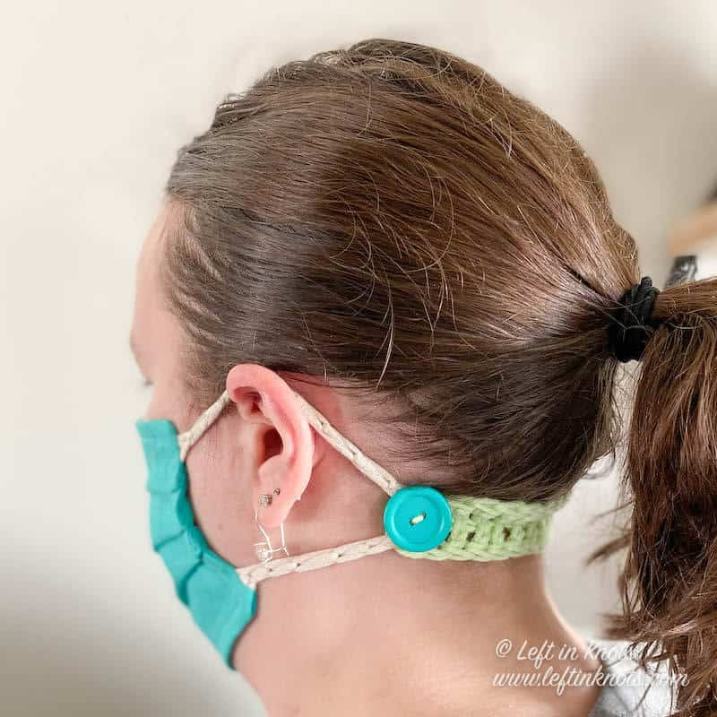 Crochet ear savers in three different styles