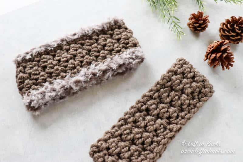 Two taupe crochet ear warmers