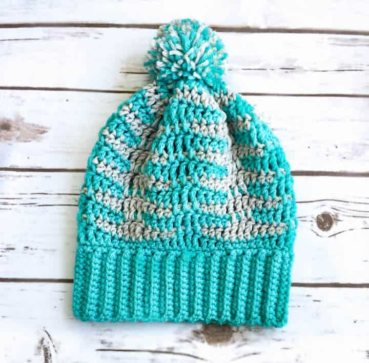 A crochet beanie made with a ripple stitch