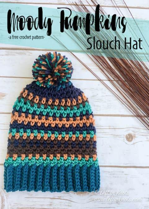 A slouchy crochet beanie with random stripes