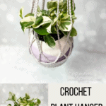 An easy crochet plant hanger pattern made with cotton yarn
