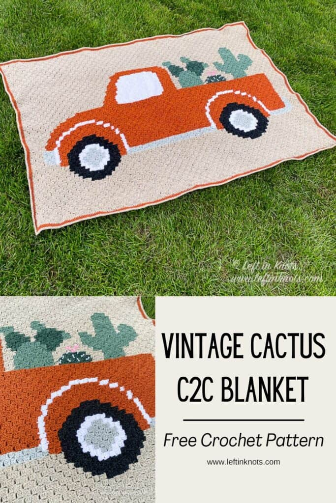 A crochet c2c blanket with an image of a vintage truck filled with cactus