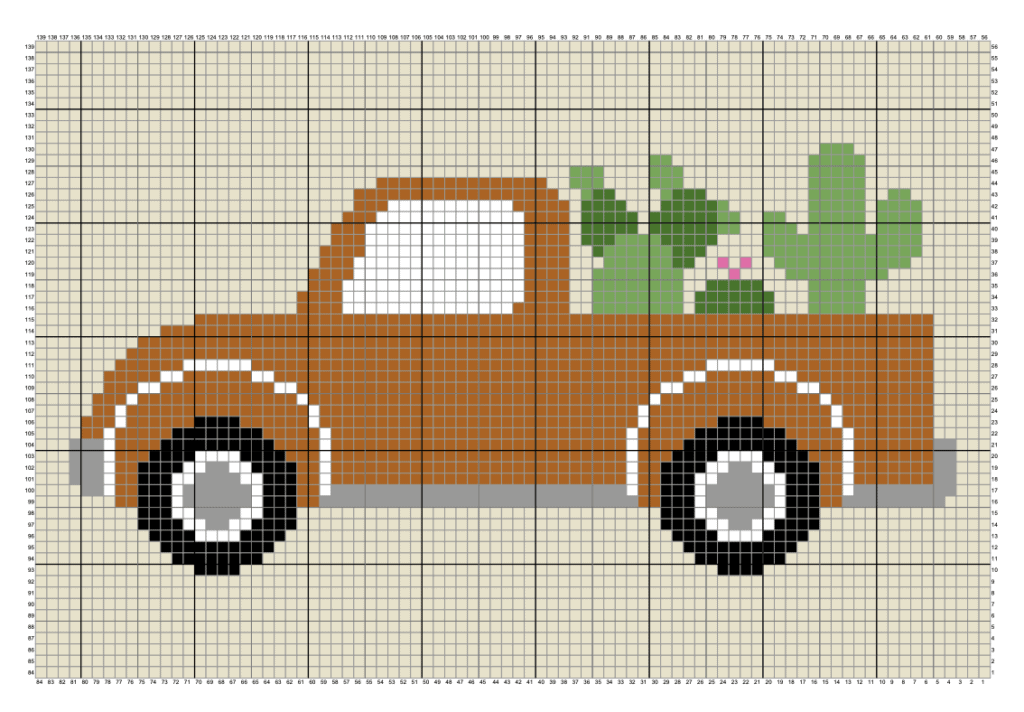 A pixel chart of a vintage truck filled with cactus
